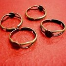 6 pc antique bronze finish ring shanks with 6mm pad-391