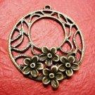 2pc antique bronze finish flower round pendant-3350
