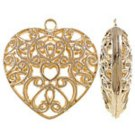 2pc 49x47x15mm gold finish metal heart hollow pendant-BB68