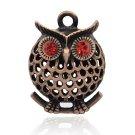 1pc 39X27mm antique copper finish hollow owl pendant w/rhinestones-7538G