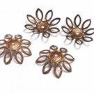 20pc 19mm antique copper finish filigree bendable bead caps-7272A