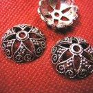 6pc 20mm antique silver lead free fancy bead cap-140