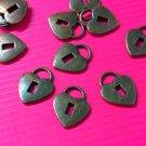 6pc antique bronze finish 20x15mm metal lock pendants-5061