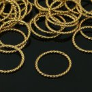 10pc 26mm antique gold finish metal round patterned ring-7258