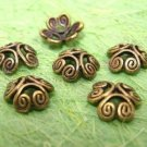 12pc antique bronze finish fancy metal bead cap-1244