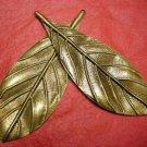 6pc 90x32mm antique bronze finish filigree leaf pendant-4063