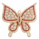 1pc 59mm Gold finish Butterfly Pendant with rhinestones and plastic pearls-10146