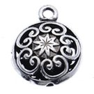 4pc 21x16mm antique silver finish metal flat round hollow pendant-9206