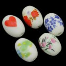 6pc 12x10mm mix pattern oval shape porcelain beads-7229t