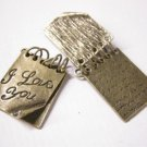 2pc antique bronze finish love letter metal pendant-5490