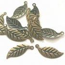 50PC 24x10mm antique bronze finish leaf charms-7627c