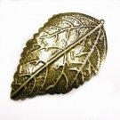 6pc 56x35mm antique bronze finish iron leaf pendant-4243