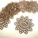 30pc 21mm antique copper finish filigree wraps-2867