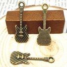12pc 25x8mm antique bronze finish guitar pendants-8548e