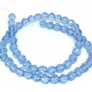 1 strand 55pcs 6mm faceted blue shade glass beads-S342