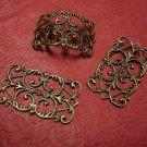 12pc antique bronze metal filigree center piece/wraps-3696