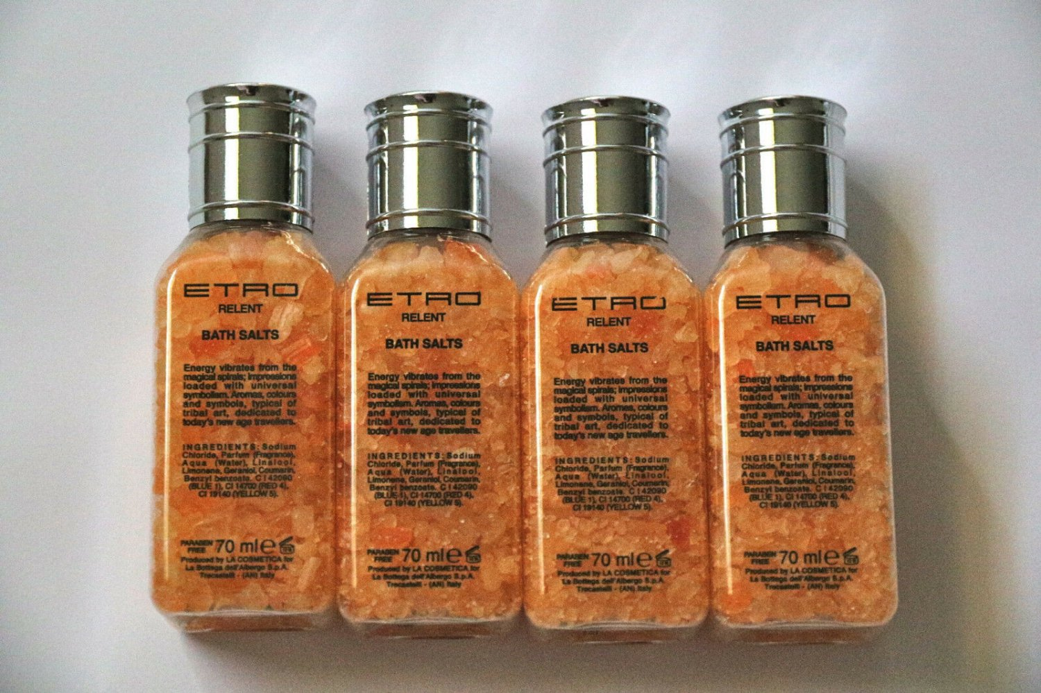 Lot of 4 x 70 ml ETRO Relent Bath Salts Lufthansa First Class Made in Italy Set