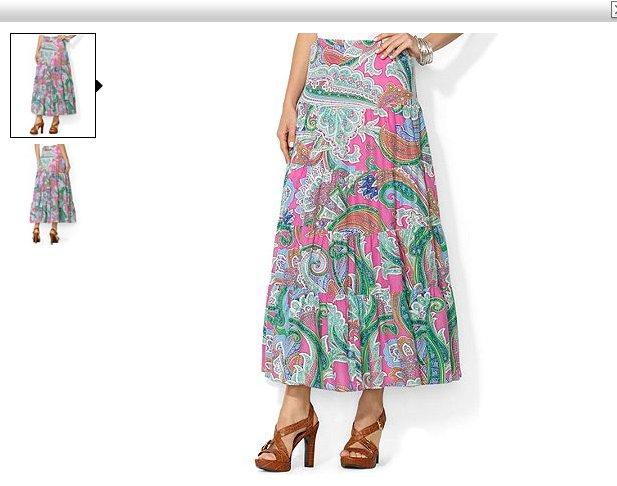 Ralph Lauren Long Skirt XL 16 18 Multi Paisley Tiered Cotton Pink Green New