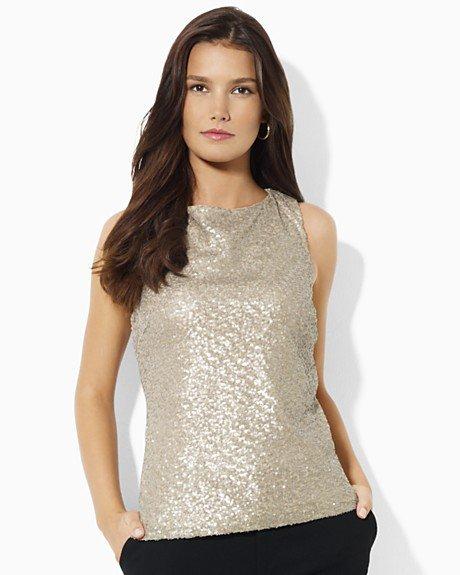 Ralph Lauren Women`s Sequined Camisole Top Blouse 8 M Evening Party New