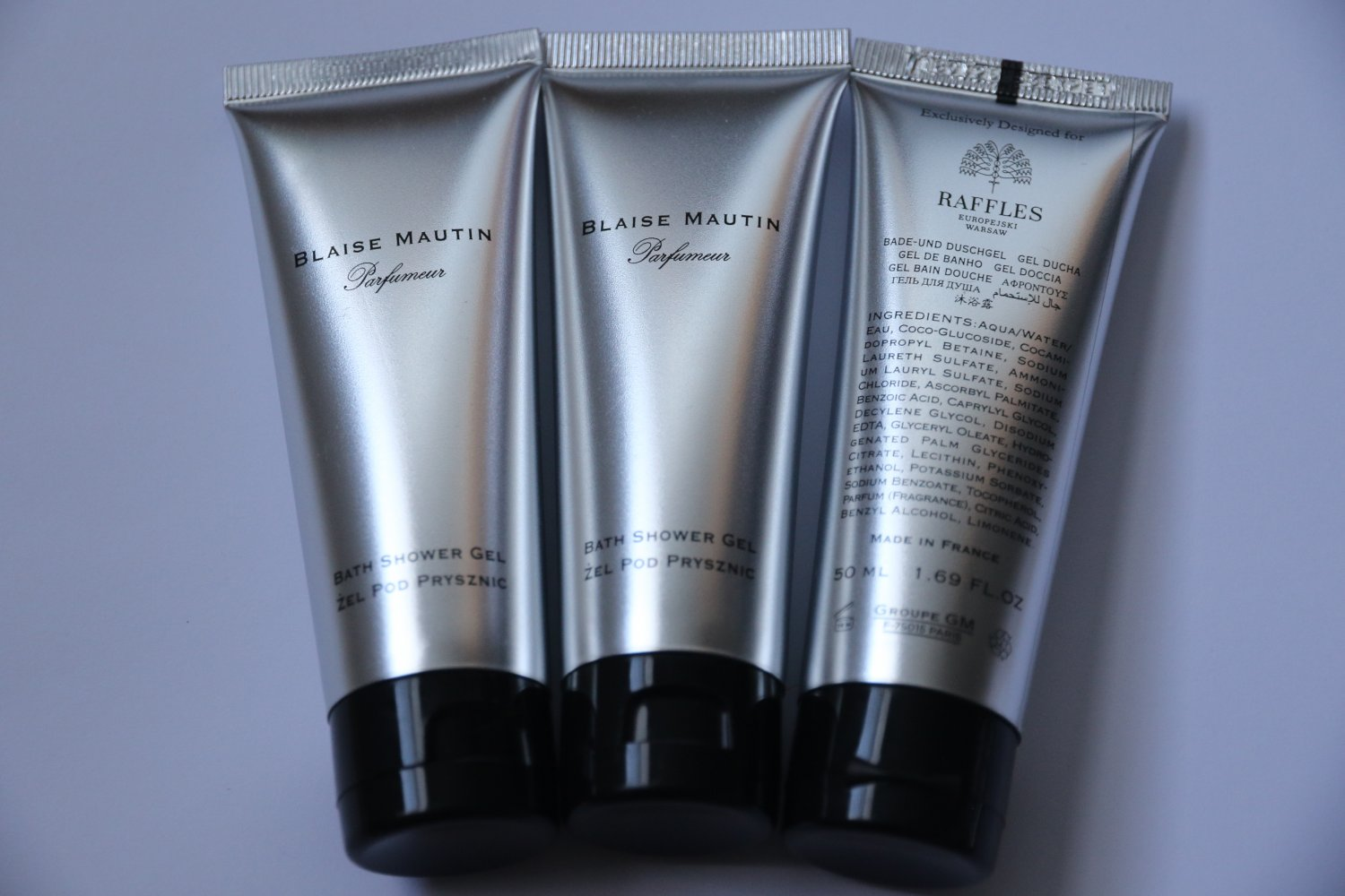 3 x 50 ml/1.7 oz Blaise Mautin Raffles Hotel Shampoo Travel Set Lot