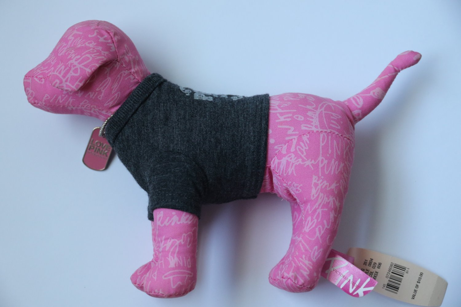 Victoria`s Secret PINK Love & Rock N Roll Stuffed Dog Animal Collectible New