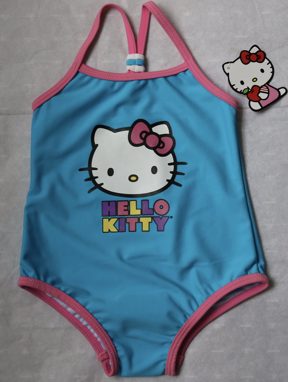Hello Kitty One-Piece Girls Swimsuit 4 4T Baby Girl Toddler Blue Cat New