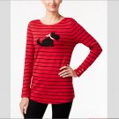 Charter Club Women`s Red Graphic Top with Scottish Terrier Dog L Cotton Long Sleeve New