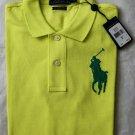 Ralph Lauren Women Big Pony Skinny Polo Shirt M 8 10 Neon Yellow Cotton New