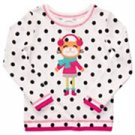 Carter`s Playwear Girls Cat Long Sleeve Top Shirt Cotton White Polka Dot Plus 6X New