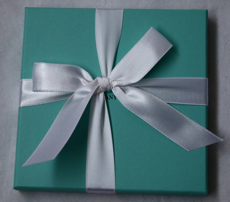 "Authentic Tiffany & Co. Blue Gift Box + Ribbon Empty Square 6"" 15cm Jewelry"