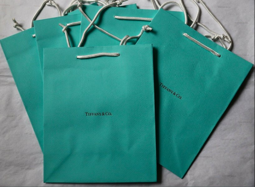 """5 Authentic Tiffany & Co Blue Shopping Medium Paper Gift Bags 9.75"""" Bag New Lot"""