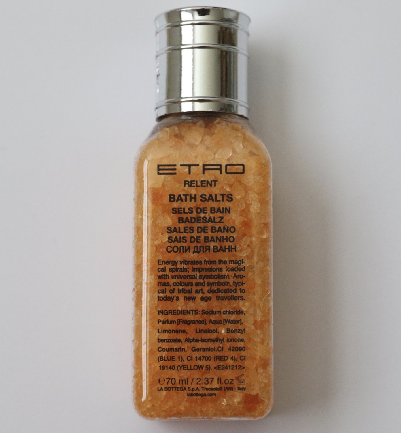 ETRO Relent Bath Salts Lufthansa First Class Made in Italy 70 ml 2.7 oz Travel Size