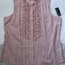 $69 NWT Nautica Womens Sleeveless Blouse Top Cotton Pink Striped Ruffle 12 L New