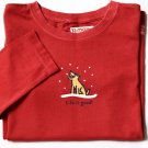 New Life is Good Girls Top Red Crusher M 7 8 Dog Snowflake Shirt Long Sleeve