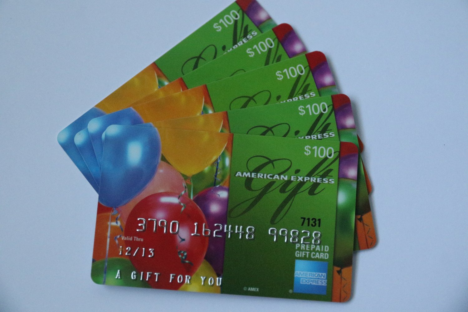 5 American Express Bank Card Balloons  Collectible Debit Credit Gift Empty No $0 Value