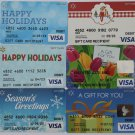 6 Visa Collectible Debit Credit Gift Card Empty No $0 Value