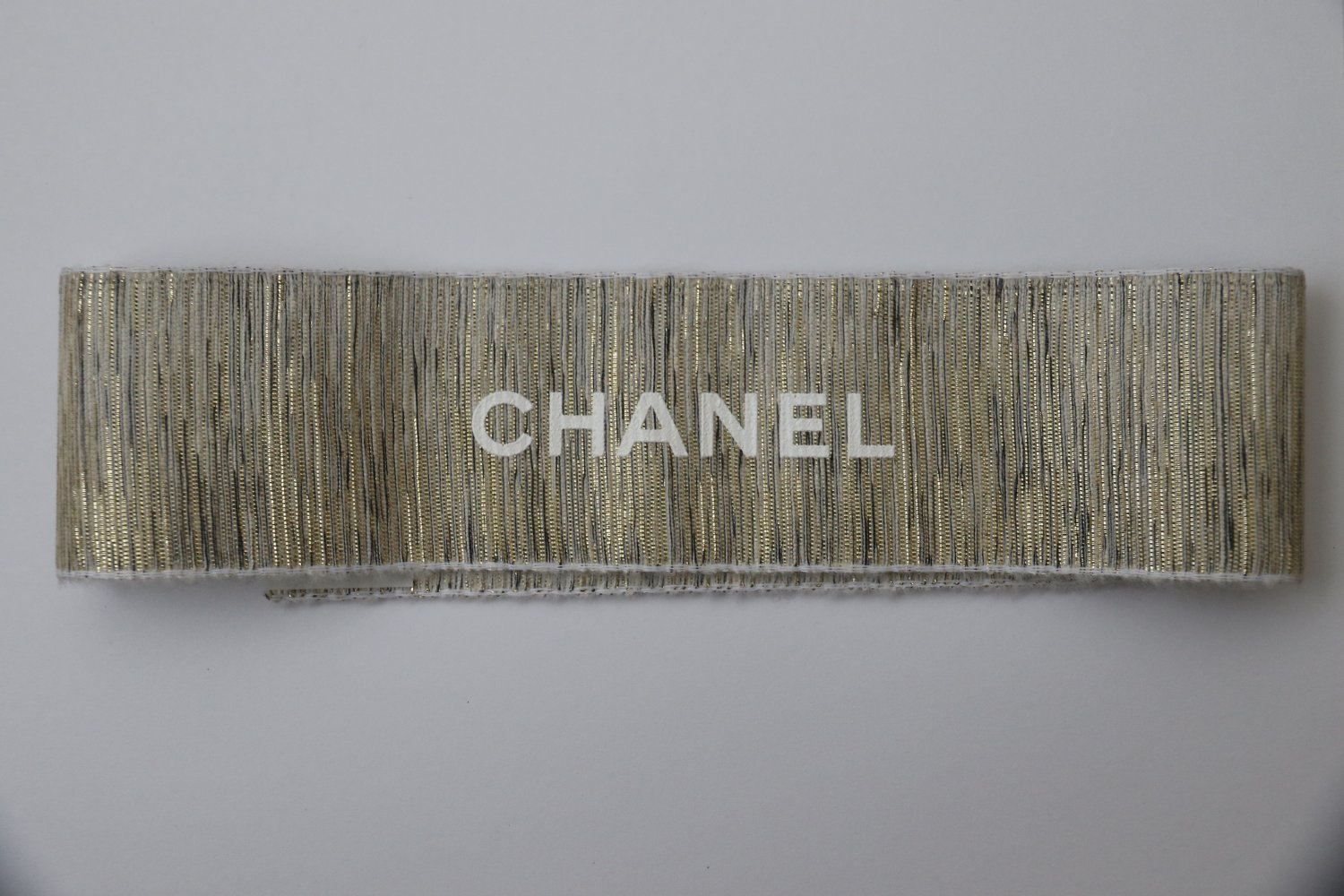 """Authentic CHANEL Golden Gift Wrap Wide Ribbon Stripe 26"""""""