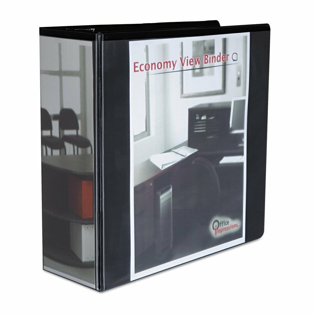 Office Impressions Economy D-Ring Vinyl View Binder / Two Inside Pockets (80995)