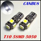 2x T10 BULBS 5 SMD BRIGHT LED SIDELIGHTS CANBUS WHITE FREE ERROR  AUDI BMW MERCEDES VW VOLVO JAGUAR