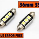 2x BULBS 36MM 3 LED SMD BRIGHT WHITE NUMBER PLATE CANBUS  FREE ERROR  AUDI BMW MERCEDES VW VOLVO