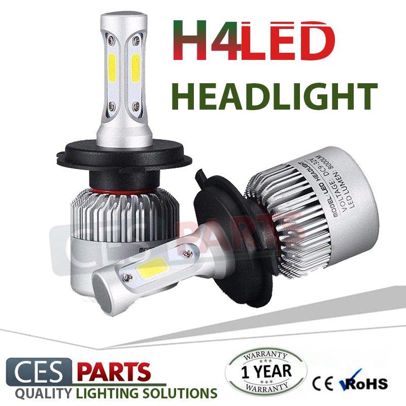 Pair Bulbs H4 Led Headlights 72W Canbus 6500K White Low Beam 8000-Lumen Free Error