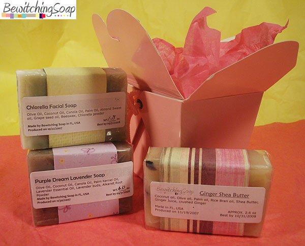 Soap Gift set of cold process soap Ginger Shea Butter, Chlorella, Lavender