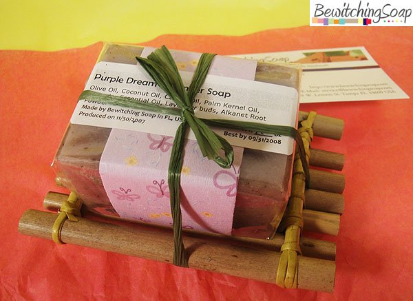 One-Soap gift set w/ Lavender cold-process soap & handmade Bamboo soap dish FREE SHIPPING