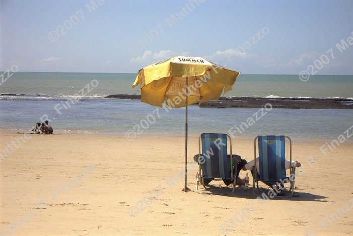 "Beach Chairs on Boa Viagem 4 x 6"" BLACK Frame"