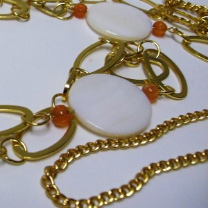 Long Shell And Carnelian Goldplated Necklace