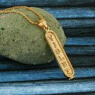 Gold Cartouche Necklace Personalized in English & Arabic, Flat Round, CR004B