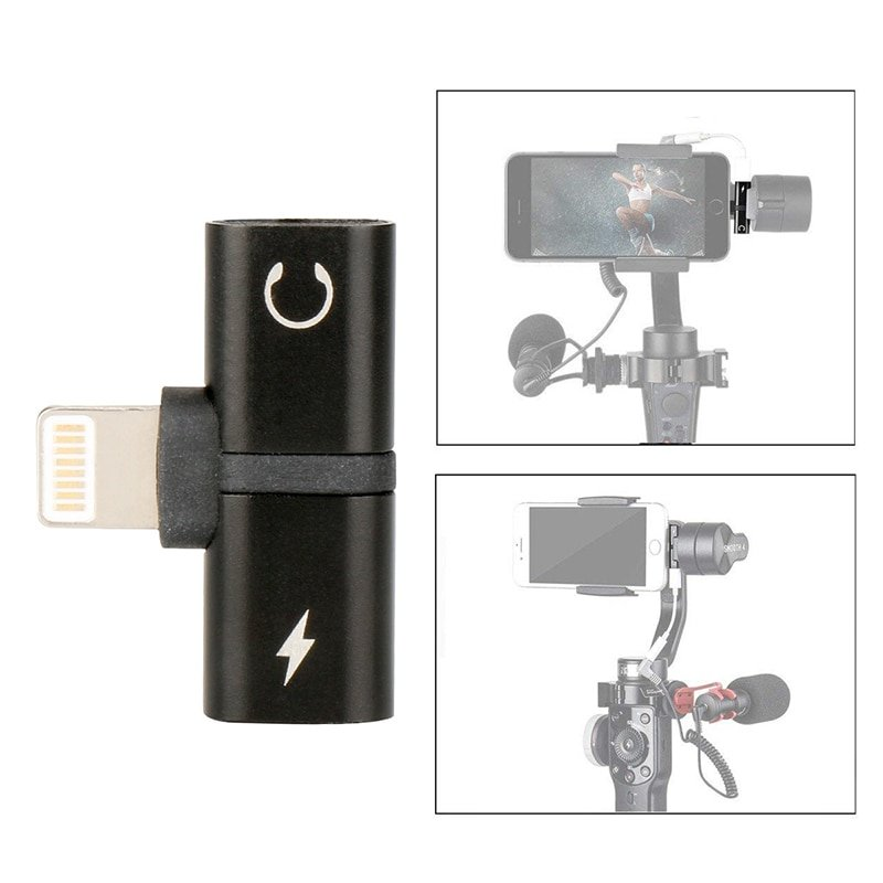 2 in 1 Audio Adapter for Zhiyun Smooth 4 Gimbal iPhone 7 8 X Charging Adapter for lightning Jack to