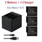 3Pcs Go Pro Lithium Battery For GoPRO Hero 7 Version Battery+3 Slots Charger For GoPro 7 Hero 6 Hero