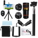 All in 1 Phone Camera Lens 8X Telescope Selfie Stick Tripod bluetooth Remote Kit - Black