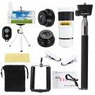 All in 1 Phone Camera Lens 8X Telescope Selfie Stick Tripod bluetooth Remote Kit - White